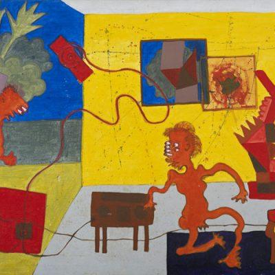 Zulkifli Dahalan, <em>Di Dalam Ruang Rumah Series</em>, 1974, Acrylic on canvas, 75cm x 126.5cm