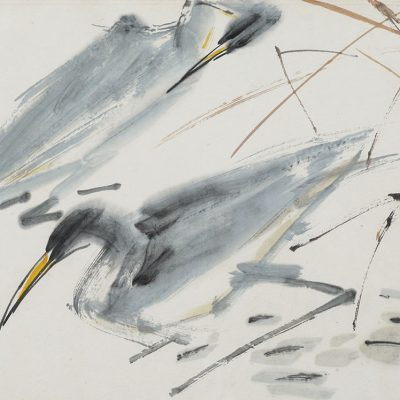 CHEN WEN HSI, <em>TWO HERONS,</em> c.early 1980s, Ink and colour on rice paper, 35cm x 45.5cm, estimate RM25,000 – 35,000