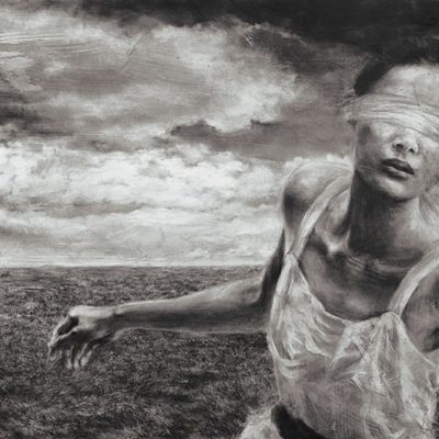 CHONG SIEW YING, <em>RUN BABY RUN,</em> 2012, Charcoal and acrylic medium on paper mounted on canvas, 137cm x 259cm, estimate RM40,000 – 50,000