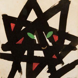 <em>Abstraksi Kucing,</em> 1987, Watercolour on paper, 21.5cm x 19.5cm