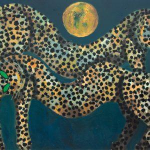 <em>Dua Macan Memandang Bulan,</em> 1997, Oil on canvas, 100cm x 145cm
