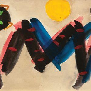 <em>Kucing Dan Bulan,</em> 1992, Watercolour on paper, 13.5cm x 22cm