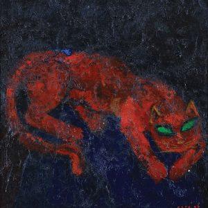 <em>Kucing,</em> 1996, Oil on canvas, 75cm x 70cm