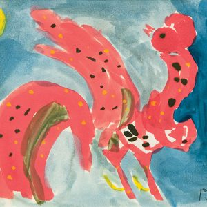 <em>Rooster And The Sun,</em> 1998, Watercolour on paper, 15cm x 21cm