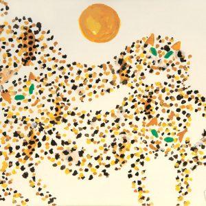 <em>Three Leopard And The Sun,</em> 1998, Watercolour on paper, 20cm x 26cm