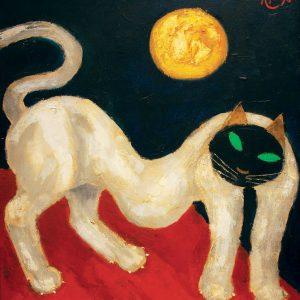 <em>White Cat With Sun,</em> 1998, Oil on canvas ,75cm x 75cm