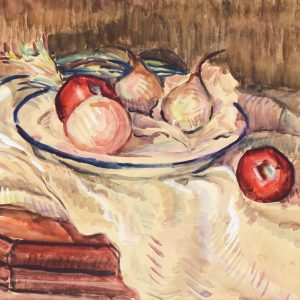 Lee Cheng Yong, <em>Apples and Pears</em>, 1958, Watercolour on paper, 46cm x 62cm. Sold