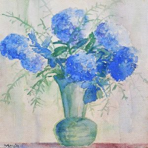 Yong Mun Sen, <em>Vase of Flowers</em>, 1954, Watercolour on paper, 64.5cm x 50cm. Sold