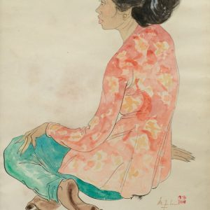 Lee Man Fong, <em>Seated Lady</em>, undated, Watercolour on paper, 53cm x 35cm. Sold