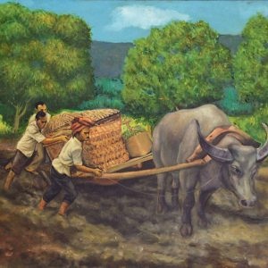 Sudarso, <em>Gerobok Sapi</em>, 1979, Oil on canvas, 69cm x 99cm. RM 12,000