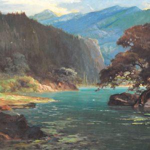 Sudjono Abdullah, <em>Landscape</em>, undated, Oil on canvas, 79cm x 159cm. RM 10,000