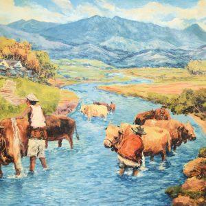 Koempoel Sujatno, <em>Memandikan Kerbau</em>, undated, Oil on canvas, 88cm x 140cm. RM 12,000