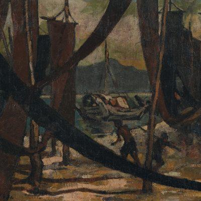YONG MUN SEN, <em>BOATS THROUGH THE NETS</em>, 1936, Oil on canvas, 49cm x 58cm, estimate RM50,000 – 80,000