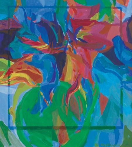 Khalil Ibrahim -Abstract 1982 [34cm x 30.5cm] oil on board
