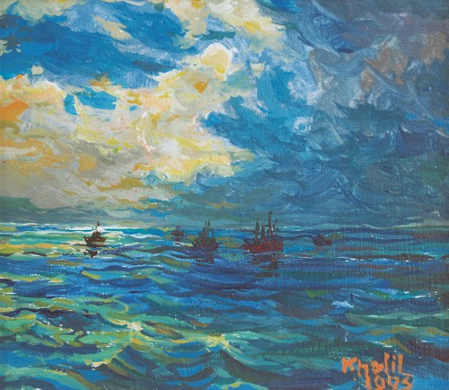 Khalil Ibrahim - Seascape 1995 [12.5cm x 14.5cm] acrylic on board