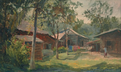 Mansor Ghazalli - Kampung Landscape Undated [35cm x 57cm] oil on canvas
