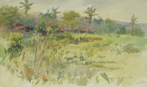 Mansor Ghazalli - Landscape Undated [36cm x 56cm] watercolour on paper