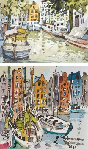 Tan Choon Ghee - Amsterdam (A set of two) watercolor on paper