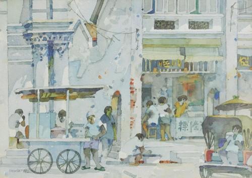 Tan Choon Ghee - Penang Street Scene 1992 [24cm x 34cm] watercolour on paper