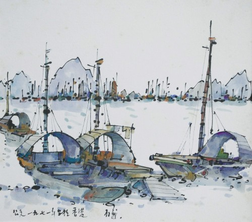 Tan Choon Ghee - Ships 1971 [23cm x 26cm] ink and watercolour on paper