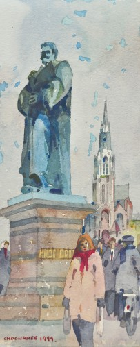 Tan Choon Ghee - Statue Of Hugo Grotius Delft Holland 1999 [29cm x 12cm] watercolour on art paper