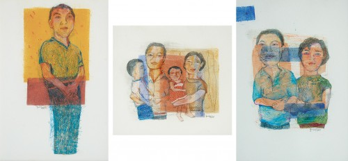 Yau Bee Ling - Portraits (A set of Three) 1999 [17cm x 18cm, 24.5cm x 17cm, 24.5cm x 17cm] mixed media on paper