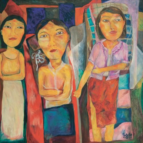 Yau Bee Ling - Three Women 1998 [90cm x 90cm] oil on canvas
