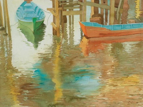 HOE SAY YONG, Berth 泊, 1997, Watercolour on paper, 76cm x 56cm