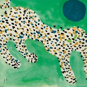 <em>Leopard And The Blue Moon,</em> 1996, Watercolour on paper, 12.5cm x 21.5cm