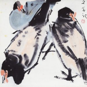 Chen Wen Hsi, <em>Chickens</em>, undated, 34cm x 33cm, Ink and colour on rice paper mounted on scroll. Price on request
