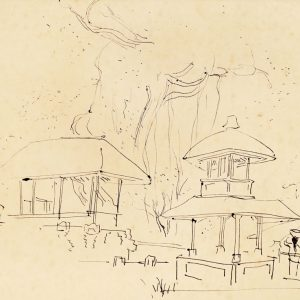 Chen Wen Hsi, <em>Bali Scene</em>, c.1950s, 22.5cm x 29cm, Ink on paper. Price on request