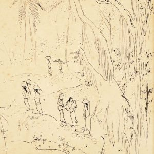 Chen Wen Hsi, <em>Bali Scene</em>, c.1950s, 29cm x 22.5cm, Ink on paper. Price on request