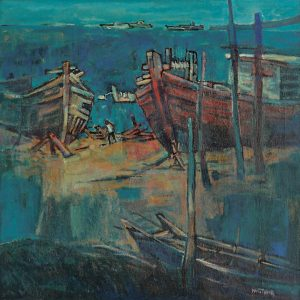 Tew Nai Tong, <em>Boats</em>, undated, 64cm x 64cm, Oil on canvas. Sold
