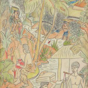 Auke Cornelis, <em>Activities Along The River</em>, 1956, Mixed media on paper, 36cm x 19cm. RM 9,000