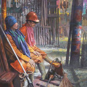 Dede Eri Supria, <em>Take A Rest</em>, 2006-2014, Oil on canvas, 120cm x 100cm. Sold