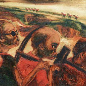 Doko Pekik, <em>Buruh</em>, 1998, Oil on canvas, 31cm x 44cm. Sold