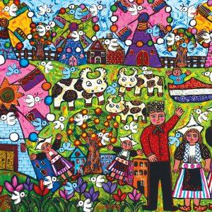 Erica Hestu Wahyuni, <em>De Regenboo In Holland</em>, 2013, Acrylic on canvas, 80cm x 110cm. RM 7,500