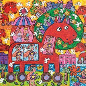 Erica Hestu Wahyuni, <em>Glory of Toy</em>, 2014, Acrylic on canvas, 80cm x 110cm. RM 7,500