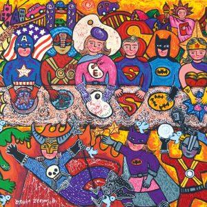Erica Hestu Wahyuni, <em>Super Heroes Supper Galactica</em>, 2014, Acrylic on canvas, 80cm x 110cm. RM 7,500