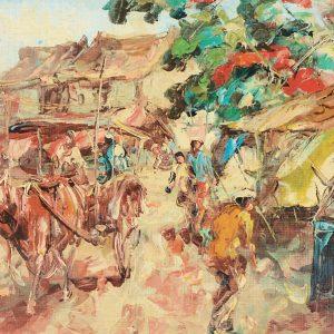 Koempoel Sujatno, <em>Indonesian Street Scene</em>, undated, Oil on board, 36cm x 58cm. RM 5,500