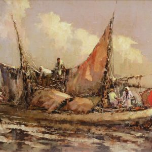 Lucien Frits Ohl, <em>Chinese Junks</em>, undated, Oil on board, 78cm x 117cm. RM 32,000