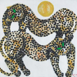 Popo Iskandar, <em>Two Leopards</em>, 1997, Oil on canvas, 120cm x 120cm. RM 75,000