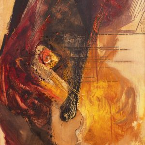 Putu Sutawijaya, <em>Matahari Terkadang Hadir</em>, 1998, Mixed media on canvas, 140cm x 90cm. RM 45,000