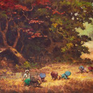 R Hadi, <em>Panen</em>, undated, Oil on canvas, 70cm x 119cm. RM 16,000