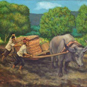 Sudarso, <em>Gerobok Sapi</em>, 1979, Oil on canvas, 69cm x 99cm. RM 12,000