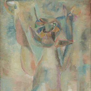 Sudjana Kerton, <em>Fish And Cat</em>, 1960, Oil on canvas, 66cm x 31cm. Sold