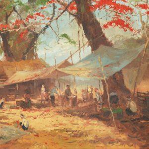 Sudjono Abdullah, <em>Pasar</em>, undated, Oil on canvas, 99cm x 144cm. RM 7,500