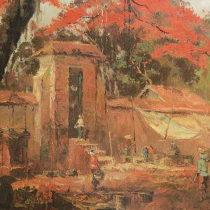 Sudjono Abdullah, <em>Market Scene</em>, undated, Oil on canvas, 99cm x 148cm. RM 9,000