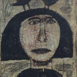 Yunizar, <em>Sepasang Burung Di Atas Kepala</em>, 2005, Oil on canvas, 49cm x 39cm. Sold