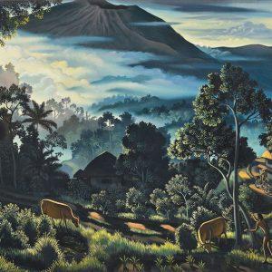 I Gusti Agung Wiranata, <em>Balinese Scene</em>, 1999, Acrylic on canvas, 60cm x 100cm. RM 30,000